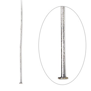 Headpin, Antique Silver-plated Brass, 1-1/2 Inch, 24 Gauge. Sold Per Pkg 100