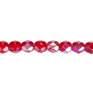 Bead, Czech Fire-polished Glass, Translucent Light Red AB, 6mm Faceted Round. Sold Per 16-inch Strand 152-19001-00-6mm-90080-28701
