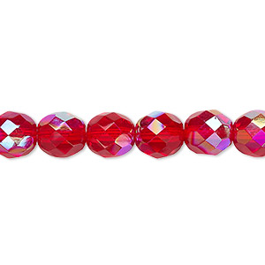 Bead, Czech Fire-polished Glass, Light Red AB, 8mm Faceted Round. Sold Per 16-inch Strand 152-19001-00-8mm-90080-28701