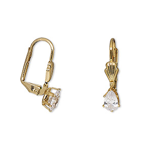 Leverback Earrings Cubic Zirconia Gold Colored