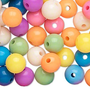 Bead, Acrylic, Opaque Summer Colors, 10mm Round. Sold Per Pkg 288 (2 Gross)