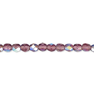 Bead, Czech Fire-polished Glass, Amethyst Purple AB, 4mm Faceted Round. Sold Per 16-inch Strand 152-19001-00-4mm-20060-28701