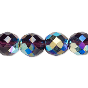 Bead, Czech Fire-polished Glass, Amethyst Purple AB, 12mm Faceted Round. Sold Per 16-inch Strand 152-19001-00-12mm-20060-28701