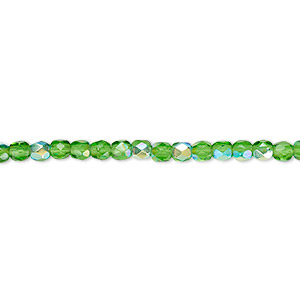 Bead, Czech Fire-polished Glass, Emerald Green AB, 3mm Faceted Round. Sold Per 16-inch Strand 152-19001-00-3mm-50140-28701