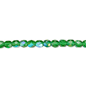 Bead, Czech Fire-polished Glass, Emerald Green AB, 4mm Faceted Round. Sold Per 16-inch Strand 152-19001-00-4mm-50140-28701