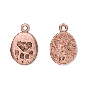 Charm, Antique Copper-plated Pewter (tin-based Alloy), 17x13mm Pet Paw. Sold Per Pkg 2