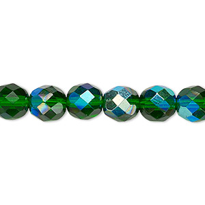Bead, Czech Fire-polished Glass, Emerald Green AB, 8mm Faceted Round. Sold Per 16-inch Strand 152-19001-00-8mm-50140-28701