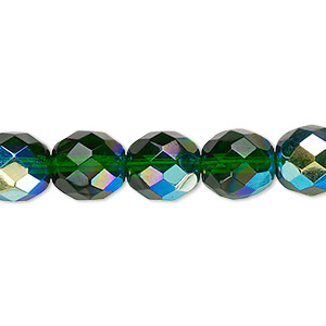 Bead, Czech Fire-polished Glass, Emerald Green AB, 10mm Faceted Round. Sold Per 16-inch Strand 152-19001-00-10mm-50140-28701