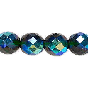 Bead, Czech Fire-polished Glass, Emerald Green AB, 12mm Faceted Round. Sold Per 16-inch Strand 152-19001-00-12mm-50140-28701