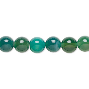 Bead, Green Agate (dyed), 8mm Round, B Grade, Mohs Hardness 6-1/2 7. Sold Per 16-inch Strand 6152GS