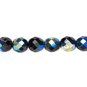 Bead, Czech Fire-polished Glass, Opaque Jet AB, 8mm Faceted Round. Sold Per 16-inch Strand 152-19001-00-8mm-23980-28701