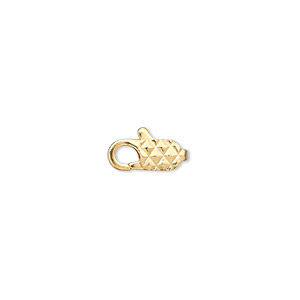 Clasp, Lobster Claw, Gold-plated Brass, 11x5mm Diamond Pattern. Sold Per Pkg 100