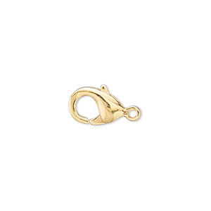 Clasp, Lobster Claw, Gold-plated Brass, 13x8mm. Sold Per Pkg 100