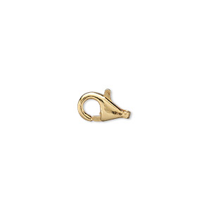Clasp, Lobster Claw, Gold-plated Brass, 10x6mm. Sold Per Pkg 100