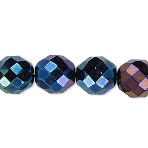 Bead, Czech Fire-polished Glass, Opaque Iris Blue, 12mm Faceted Round. Sold Per 16-inch Strand 152-19001-00-12mm-23980-21435