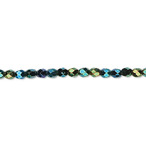 Bead, Czech Fire-polished Glass, Opaque Iris Green, 3mm Faceted Round. Sold Per 16-inch Strand 152-19001-00-3mm-23980-21455