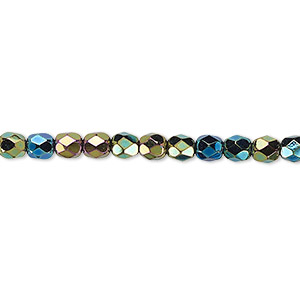 Bead, Czech Fire-polished Glass, Opaque Iris Green, 4mm Faceted Round. Sold Per 16-inch Strand 152-19001-00-4mm-23980-21455