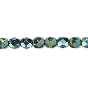 Bead, Czech Fire-polished Glass, Opaque Iris Green, 6mm Faceted Round. Sold Per 16-inch Strand 152-19001-00-6mm-23980-21455