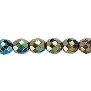 Bead, Czech Fire-polished Glass, Opaque Iris Green, 8mm Faceted Round. Sold Per 16-inch Strand 152-19001-00-8mm-23980-21455