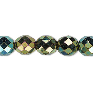 Bead, Czech Fire-polished Glass, Opaque Iris Green, 10mm Faceted Round. Sold Per 16-inch Strand 152-19001-00-10mm-23980-21455