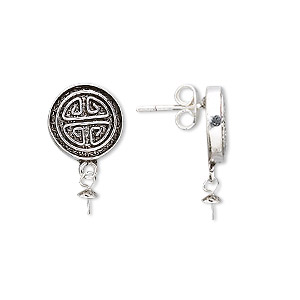 Earstud, Antiqued Sterling Silver, 19mm 12mm Round Peg. Sold Per Pair