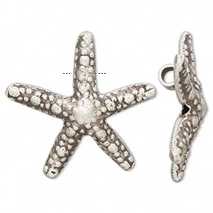 Focal, Hill Tribes, Antiqued Fine Silver, 34x33mm Starfish. Sold Individually