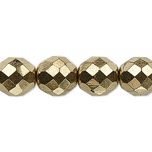 Bead, Czech Fire-polished Glass, Opaque Light Bronze, 12mm Faceted Round. Sold Per 16-inch Strand, Approximately 35 Beads 152-19001-00-12mm-23980-90215
