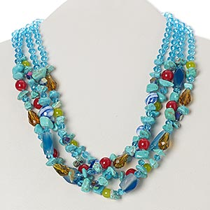 "Necklace, Blue Agate / Magnesite (dyed / Stabilized / Heated) / Glass / Silver-finished Steel / ""pewter"" (zinc-based Alloy) / Silver-plated Brass, Multicolored, Rondelle, 19 Inches 3-inch Extender Chain Lobster Claw Clasp. Sold Individually 6212JD"