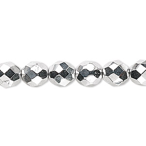 Bead, Czech Fire-polished Glass, Metallic Silver, 8mm Faceted Round. Sold Per 16-inch Strand 152-19001-00-8mm-00030-27000