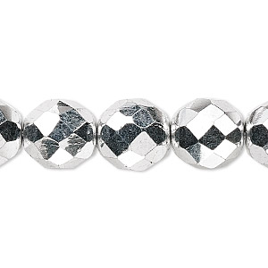 Bead, Czech Fire-polished Glass, Metallic Silver, 12mm Faceted Round. Sold Per 16-inch Strand 152-19001-00-12mm-00030-27000
