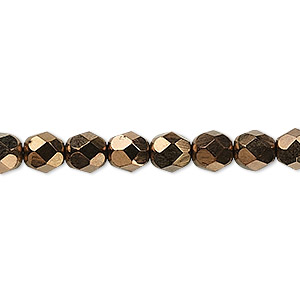 Bead, Czech Fire-polished Glass, Opaque Bronze, 6mm Faceted Round. Sold Per 16-inch Strand, Approximately 65 Beads 152-19001-XX-6mm-23980-14415