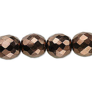 Bead, Czech Fire-polished Glass, Opaque Bronze, 12mm Faceted Round. Sold Per 16-inch Strand, Approximately 35 Beads 152-19001-00-12mm-23980-14415