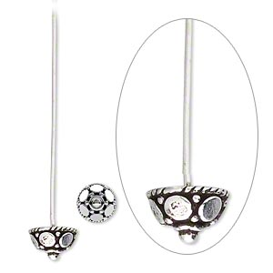 4 Sterling Silver 5mm Flower 2 Inches Long 21 Gauge Head Pins