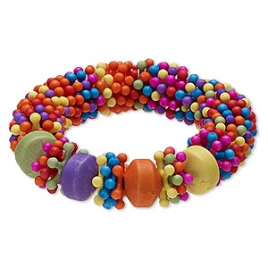 Bracelet, Stretch, Acrylic, Multicolored, 14mm Wide Star, 6 Inches. Sold Individually 6224JD