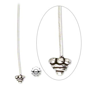 Headpin, Antiqued Sterling Silver, 2 Inches 5mm Rondelle, 21 Gauge. Sold Per Pkg 2