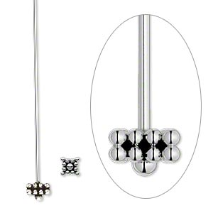 Headpin, Antiqued Sterling Silver, 2 Inches 5-6mm Square, 21 Gauge. Sold Per Pkg 2