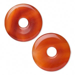 Focal, Red Agate (dyed / Heated), 40mm Donut, B Grade, Mohs Hardness 6-1/2 7. Sold Per Pkg 2
