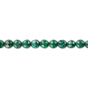 Bead, Malachite (natural), 6mm Faceted Round, B Grade, Mohs Hardness 3-1/2 4. Sold Per 16-inch Strand 6312GS