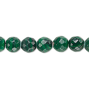 Bead, Malachite (natural), 10mm Faceted Round, B Grade, Mohs Hardness 3-1/2 4. Sold Per 16-inch Strand 6314GS