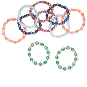 Bracelet Mix, Stretch, Acrylic Resin, Mixed Colors, 8-10mm Mixed Shape, 6 Inches. Sold Per Pkg 10 6323FL