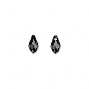 Drop, Swarovski® Crystals, Crystal Passions®, Jet, 9x5mm Faceted Briolette Pendant (6007). Sold Per Pkg 2 6007