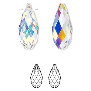 Focal, Swarovski® Crystals, Crystal Passions®, Crystal AB, 50x21.5mm Faceted Briolette Pendant (6010). Sold Individually 6010