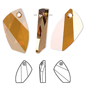 Focal, Swarovski® Crystals, Crystal Passions®, Crystal Copper, 30x19mm Faceted Avant-garde Pendant (6620). Sold Individually 6620