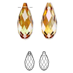 Focal, Swarovski® Crystals, Crystal Passions®, Crystal Copper, 50x21.5mm Faceted Briolette Pendant (6010). Sold Individually 6010