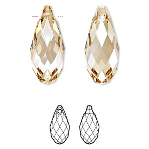 Focal, Swarovski® Crystals, Crystal Passions®, Crystal Golden Shadow, 50x21.5mm Faceted Briolette Pendant (6010). Sold Individually 6010