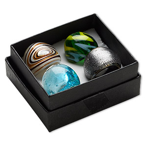Ring Mix, Lampworked Glass, Multicolored, 16-24mm Wide Mixed Designs, Size 6-9. Sold Per Pkg 4 6398KX