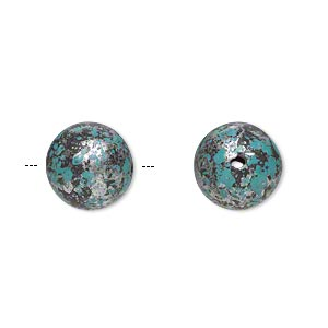 Bead, Antiqued Silver-finished Plastic, Blue-green Black, 12mm Round 1.5mm Hole. Sold Per Pkg 58