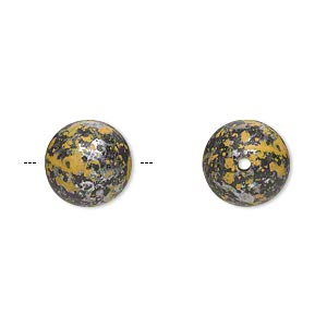 Bead, Antiqued Silver-finished Plastic, Yellow Black, 12mm Round 1.5mm Hole. Sold Per Pkg 58