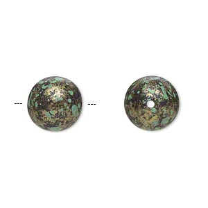 Bead, Antiqued Gold-finished Plastic, Green Black, 12mm Round 1.5mm Hole. Sold Per Pkg 58