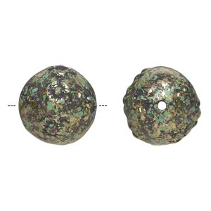 Bead, Antiqued Gold-finished Plastic, Green Black, 16mm Textured Round 1.5mm Hole. Sold Per Pkg 24